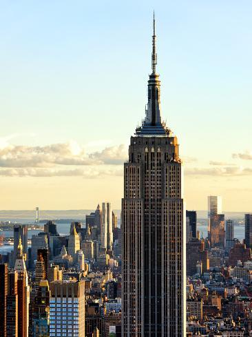 Empire State Building from Rockefeller Center at Dusk, Manhattan, New York City, United States Photographic Print