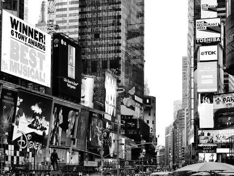 Landscape of Times Square, Advertising Views, Manhattan, NYC, US, USA, Black and White Photography Photographic Print