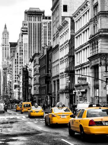 NYC Yellow Taxis / Cabs on Broadway Avenue in Manhattan - New York City - United States Photographic Print