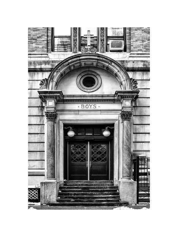 Old Door Entrance to Catholic School Boys Chelsea Winter Valokuvavedos