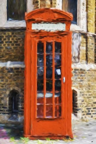 Orange Phone Booth - In the Style of Oil Painting Giclee Print