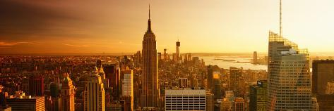 Panoramic Landscape - Empire State Building - Sunset - Manhattan - New York City - United States Photographic Print