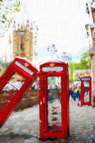Phone Booths - In the Style of Oil Painting Giclee Print