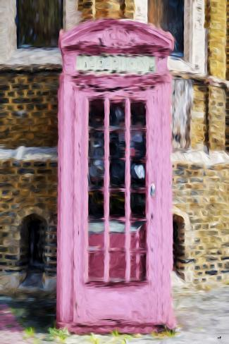 Pink Phone Booth - In the Style of Oil Painting Giclee Print