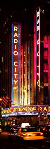 Radio City Music Hall and Yellow Cab by Night, Manhattan, Times Square, New York City Photographic Print