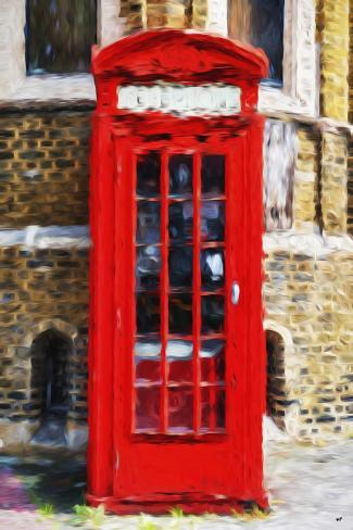 Red Phone Booth - In the Style of Oil Painting Giclee Print