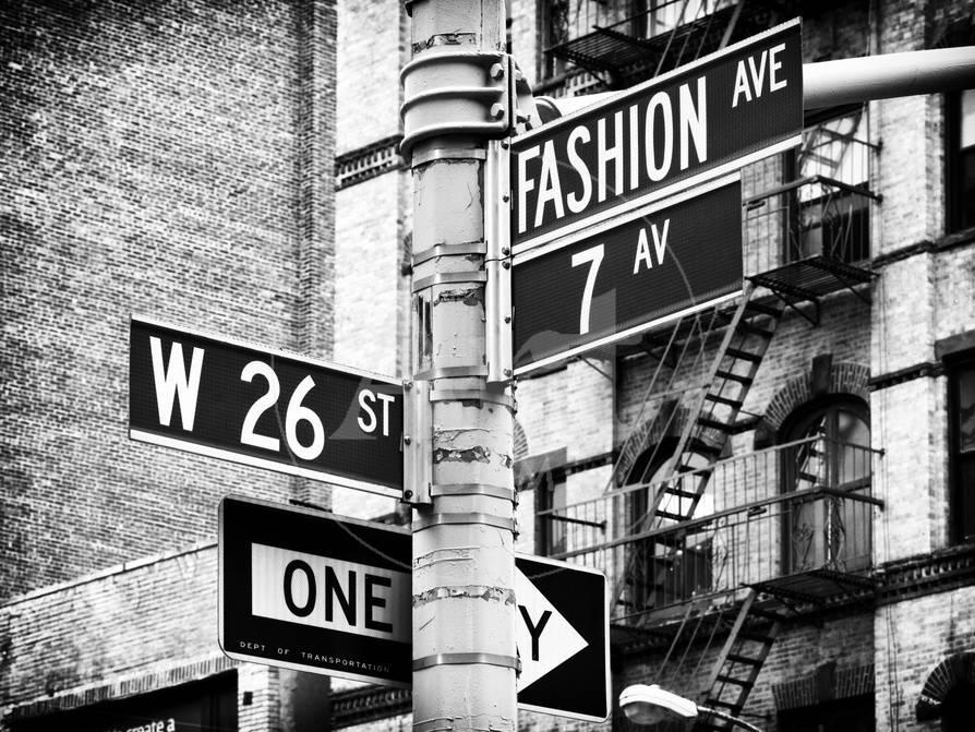 Signpost fashion ave manhattan new york city united states black and white photography photographic print by philippe hugonnard at allposters com