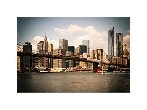 Skyline of NYC with One World Trade Center and East River, Manhattan and Brooklyn Bridge, Vintage Photographic Print