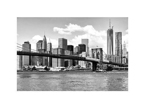 Skyline of NYC with One World Trade Center and East River, Manhattan and Brooklyn Bridge Photographic Print