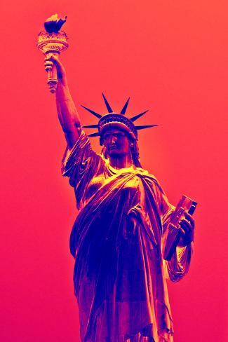 Statue of Liberty - Décorative Art - Red Vintage - NYC - United States Photographic Print