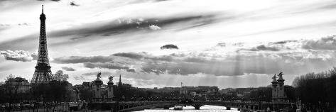 Sunset on the Alexander III Bridge - Eiffel Tower - Paris Photographic Print