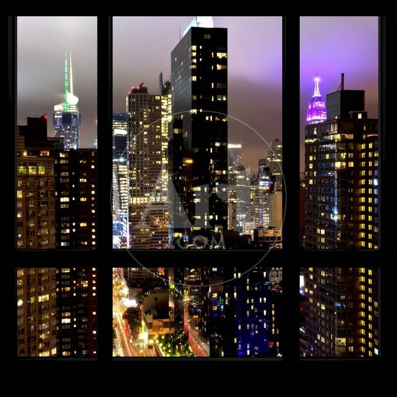 View From The Window Manhattan Skyline By Night Photographic Print Philippe Hugonnard Allposters Com