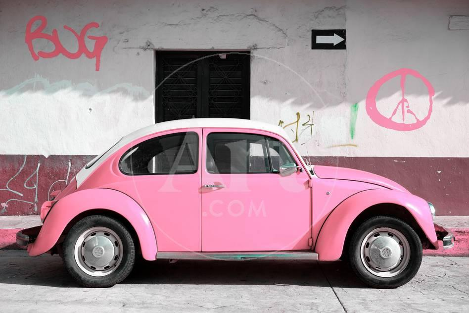 viva mexico! collection - vw beetle car and light pink graffiti