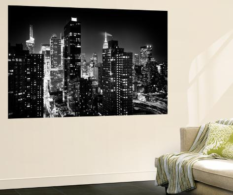 Wall mural manhattan at night times square and empire for Acheter poster mural new york