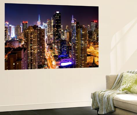 Wall mural manhattan cityscape at night times square for Cityscape mural
