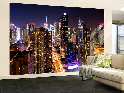 Wall mural manhattan cityscape at night times square for Poster mural geant new york