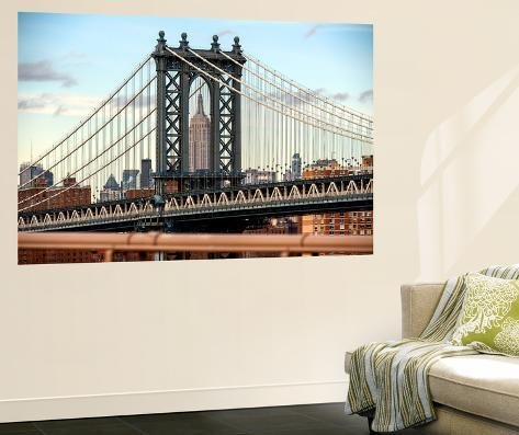 Wall mural the manhattan bridge and the empire state for Empire state building wall mural