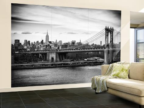 Wall mural the manhattan bridge and the empire state for Poster mural new york