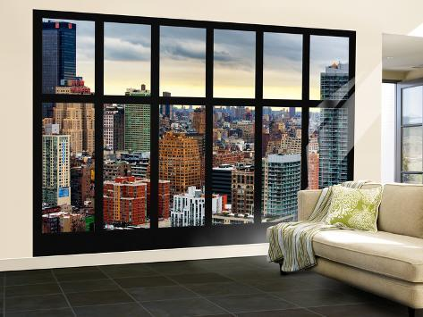 wall mural window view cityscape of manhattan new york usa wall mural large by. Black Bedroom Furniture Sets. Home Design Ideas