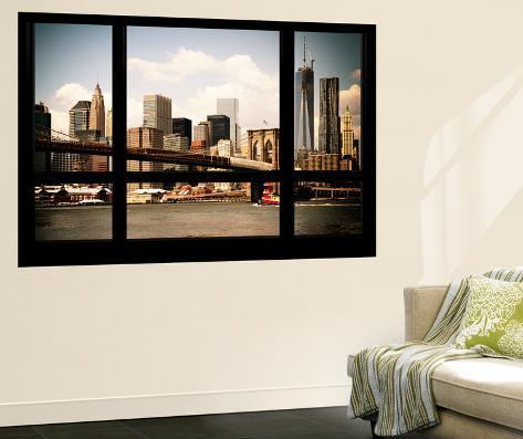 wall mural window view manhattan view with brooklyn bridge and 1wtc new york wall mural by. Black Bedroom Furniture Sets. Home Design Ideas
