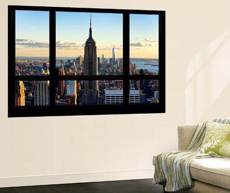 Wall mural window view manhattan with the empire state for Acheter poster mural new york