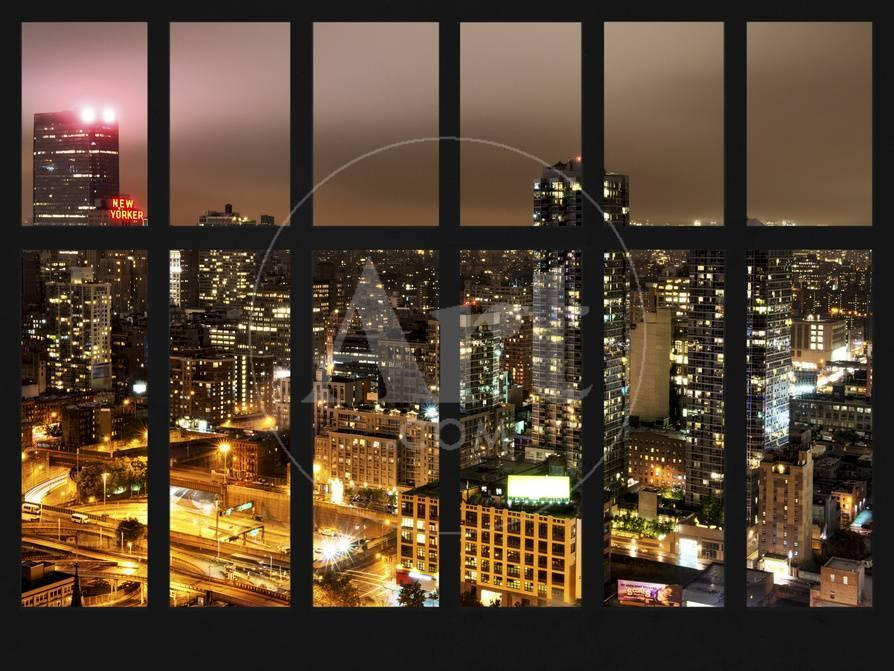 Window View Cityscape Of City With New Yorker Hotel By Foggy Night Manhattan New York City Photographic Print Philippe Hugonnard Allposters Com