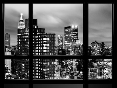 Window view empire state building and new yorker hotel views by night times square nyc