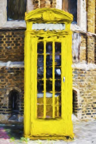 Yellow Phone Booth - In the Style of Oil Painting Giclee Print