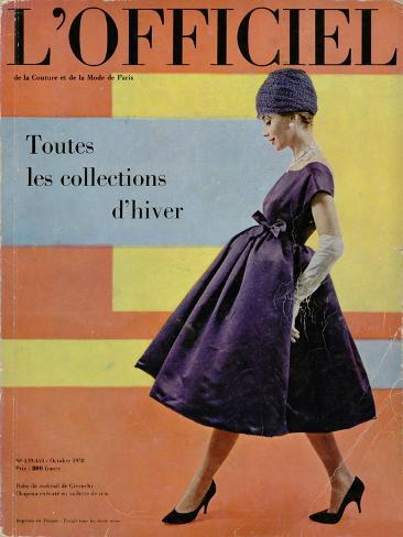 L'Officiel, October 1958 - Robe de Cocktail de Givenchy, Chapeau Exécuté en Voilette de Soie Art Print