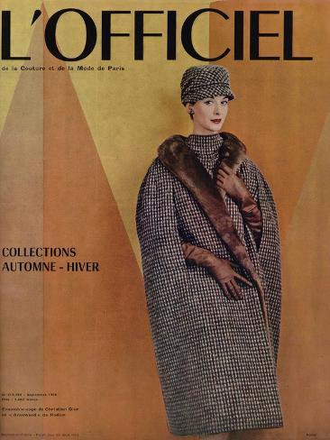 L'Officiel, September 1956 - Ensemble-Cape de Christian Dior en Arakweed de Rodier Taidevedos