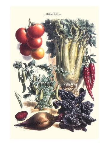 Vegetables; Beet, Hot Peppers, Celery, Tomatoes, and Peas in Pods Art Print