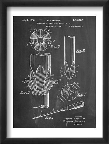 Phillips Screw Driver Patent Framed Art Print