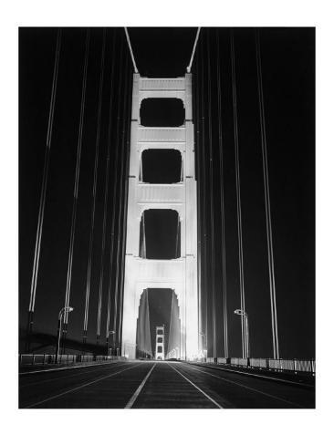 1937 Golden Gate Bridge at Night Poster Giclee Print