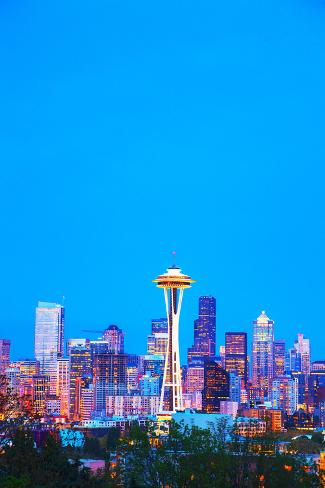 Downtown Seattle Cityscape with Space Needle Photographic Print