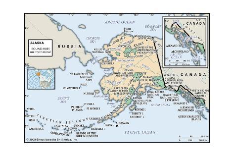 Physical Map of Alaska Prints - AllPosters.co.uk