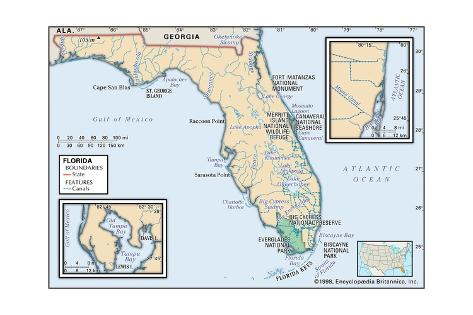Physical Map of Florida Poster AllPosterscouk