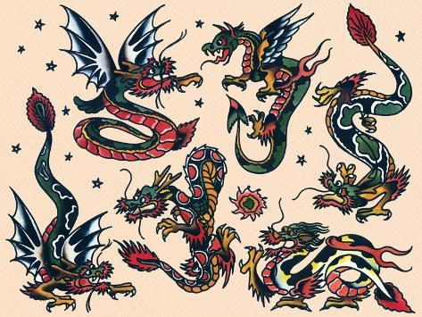 asian dragons authentic vintage tatooo flash by norman collins aka