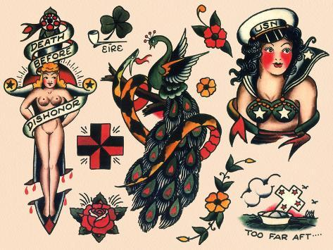 us navy and sailor tattoos authentic vintage tatooo flash by norman collins aka sailor jerry. Black Bedroom Furniture Sets. Home Design Ideas
