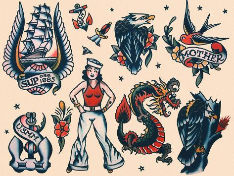 vintage sailor tattoo flash by norman collins aka sailor jerry