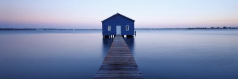 Pier Leading to a Boathouse, Swan River, Matilda Bay, Perth, Western Australia, Australia Photographic Print