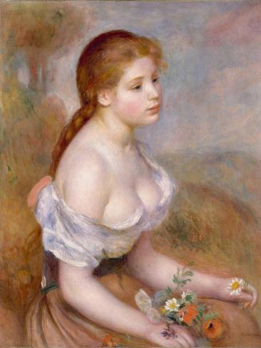 A Young Girl with Daisies, 1889 Lámina giclée