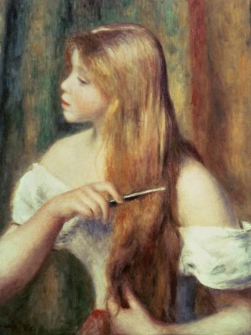 Blonde Girl Combing Her Hair, 1894 Lámina giclée