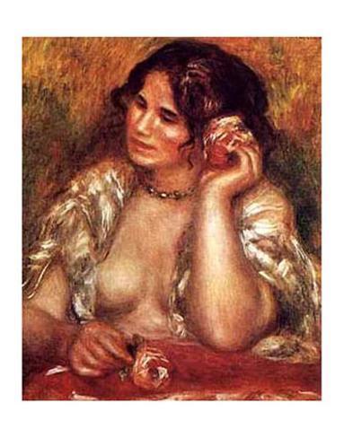 Gabrielle con una rosa Lámina