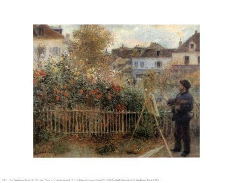 Monet Painting in His Garden at Argenteuil, 1873 Art Print