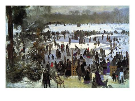 Skating Runners In The Bois De Bologne Art Print