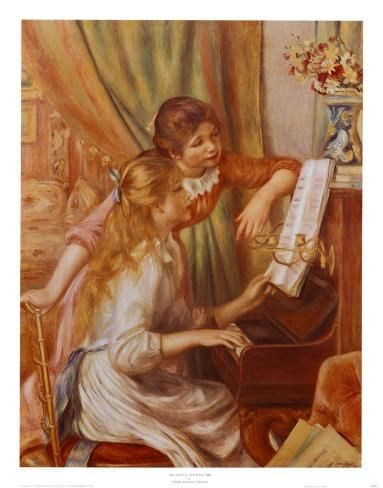 Two Girls at the Piano Art Print