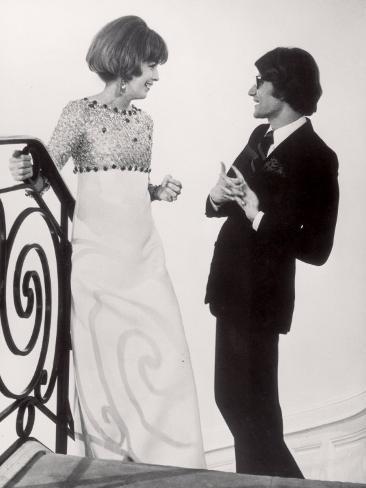 Fashion Designer Yves Saint Laurent Talking with Client Mrs. Stanley Donen at His Boutique Premium Photographic Print