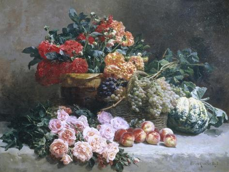 Rich Still Life of Fruit and Flowers Giclee Print
