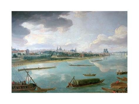 View of Paris from the Quai De La Rapee Impressão giclée