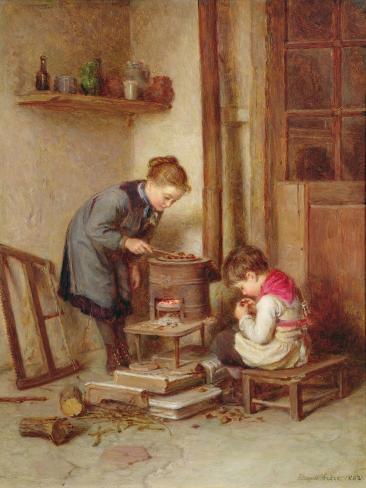 Roasting Chestnuts, 1882 Impressão giclée